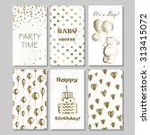 set of baby shower  birthday ... | Shutterstock .eps vector #313415072