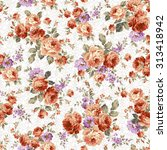 rose flower pattern  | Shutterstock .eps vector #313418942