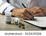 doctor writing on prescription... | Shutterstock . vector #313419206