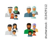 vector middle eastern family... | Shutterstock .eps vector #313429112