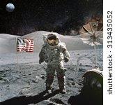 astronaut on lunar  moon ... | Shutterstock . vector #313435052