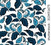 seamless hand drawn flowers... | Shutterstock .eps vector #313451675