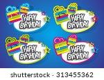 happy birthday stickers on... | Shutterstock .eps vector #313455362