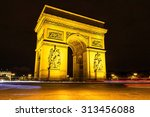 the triumphal arch at night  ... | Shutterstock . vector #313456088