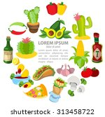 various objects from mexico | Shutterstock .eps vector #313458722