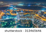 panorama of night dubai during... | Shutterstock . vector #313465646