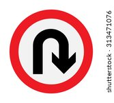 prohibition sign u turn .... | Shutterstock .eps vector #313471076