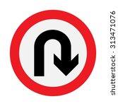 prohibition sign u turn .... | Shutterstock .eps vector #313471076