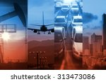 energy and transportation in a... | Shutterstock . vector #313473086