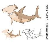 high quality hammerhead shark...   Shutterstock .eps vector #313475132