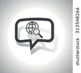 curved chat bubble with globe...