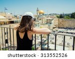 Girl Looks At The Wailing Wall...