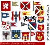 set of vector heraldic elements ... | Shutterstock .eps vector #313560176