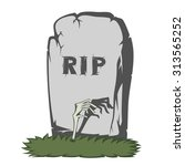 a gray gravestone with grass... | Shutterstock .eps vector #313565252