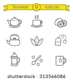 Tea Linear Icons Set. Cafe Hot...