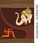 ganesha the lord of wisdom... | Shutterstock .eps vector #313566782