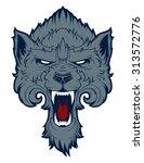 roaring wolf mascot   Shutterstock .eps vector #313572776