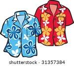 pair of hawaiian aloha shirts | Shutterstock .eps vector #31357384