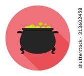 witches cauldron flat icon with ... | Shutterstock .eps vector #313602458