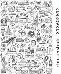 travel landmarks doodles icons... | Shutterstock .eps vector #313602812