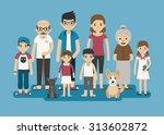 set of big happy family... | Shutterstock .eps vector #313602872