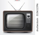 retro tv set with empty channel ... | Shutterstock .eps vector #313611596