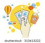 flat contour illustration of... | Shutterstock .eps vector #313613222