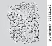 big composition of doodle... | Shutterstock .eps vector #313621262