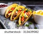 mexican food   delicious tacos... | Shutterstock . vector #313639082