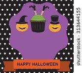 happy halloween background with ...   Shutterstock .eps vector #313644155