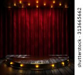 red curtain stage with lights   Shutterstock . vector #313665662
