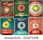 vintage donuts poster design set   Shutterstock .eps vector #313671938