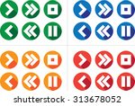 media icon set. includes play ... | Shutterstock .eps vector #313678052