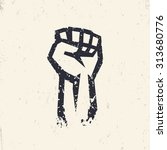 fist held high in protest ...   Shutterstock .eps vector #313680776