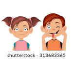 brother and sister. vector flat ... | Shutterstock .eps vector #313683365