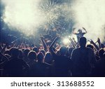 fireworks and crowd celebrating ... | Shutterstock . vector #313688552