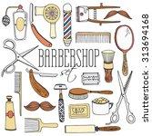 vintage barbershop tool... | Shutterstock .eps vector #313694168