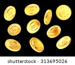 falling golden coins with euro... | Shutterstock . vector #313695026