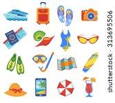 summer holiday tropical beach... | Shutterstock .eps vector #313695506