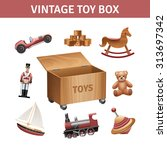 Vintage Toy Box Set With...