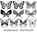set of ten black ornamental... | Shutterstock . vector #313701125