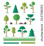 vector trees flat icon set   Shutterstock .eps vector #313708352
