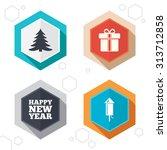 hexagon buttons. happy new year ... | Shutterstock .eps vector #313712858