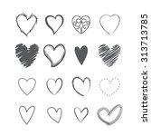set of heart shape hands drawn... | Shutterstock .eps vector #313713785