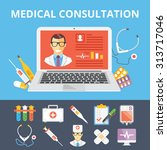 medical consultation flat... | Shutterstock .eps vector #313717046