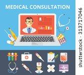 medical consultation flat... | Shutterstock .eps vector #313717046