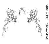 frame oval vintage baroque... | Shutterstock .eps vector #313743086
