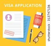 visa application flat...   Shutterstock .eps vector #313747136