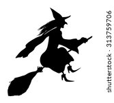 Witch On A Broomstick. Black...