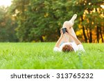 woman relaxing in the park and... | Shutterstock . vector #313765232